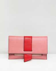 Asos Tab Detail Clutch Bag Pink Blue
