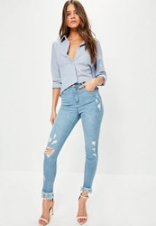 Missguided Blue High Waisted Fray Hem Ripped Skinny Jeans