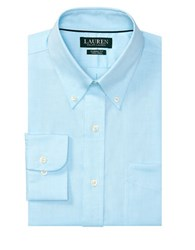 Lauren Ralph Lauren Classic Fit Solid Cotton Dress Shirt Aqua White