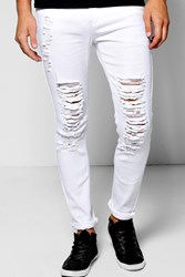 Boohoo Fit Jeans With Extreme Rips White