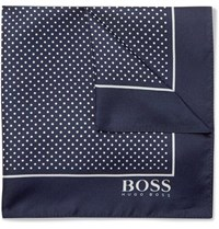 Hugo Boss Pin Dot Silk Twill Pocket Square Navy