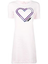 Carven Heart Logo T Shirt Dress Pink Purple