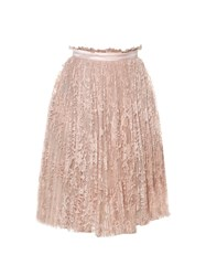Alexander Mcqueen Pleated Lace Skirt Light Pink