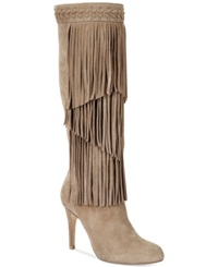 Inc International Concepts Tomi Fringe Tall Dress Boots Women's Shoes Warm Taupe Suede