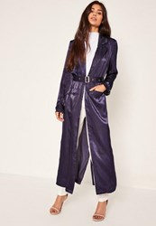 Missguided Blue Buckle Duster Jacket Navy