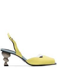 Yuul Yie Yellow And Grey Nouvelle 70 Leather Slingbacks