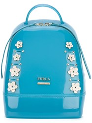 Furla Floral Appliqued Backpack Blue