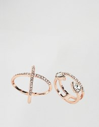 Asos Pack Of 2 Fine Crystal Kiss Ring Pack Rose Gold Copper
