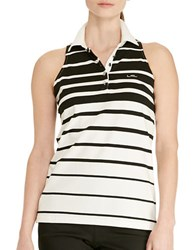 Lauren Ralph Lauren Striped Sleeveless Polo Shirt Black White
