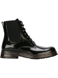Dolce And Gabbana Lace Up Boots Black