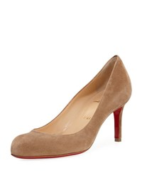 Christian Louboutin Simple Suede 70Mm Red Sole Pump Beige