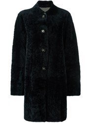 Sylvie Schimmel Lamb Fur Coat Blue
