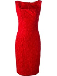 Ermanno Scervino Fitted Lace Jacquard Dress Red