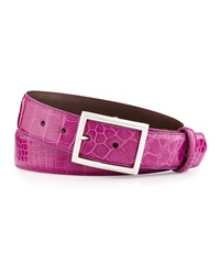W.Kleinberg Glazed Alligator Belt With 'Simple Rec' Buckle Magenta Made To Order
