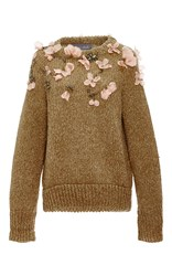 Monique Lhuillier Rib Sweater With Floral Embroidery Red