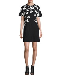 Mcq By Alexander Mcqueen Short Sleeve Jersey Swallow Print T Shirt Dress Black