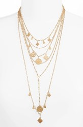 Rebecca Minkoff Etched Charm Multistrand Necklace Gold
