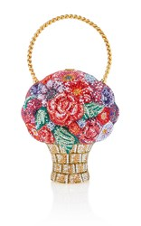 Judith Leiber Couture Crystal Flower Basket Clutch Red