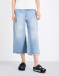 Moandco. High Rise Flared Cropped Jeans Blue Denim