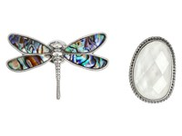 Lucky Brand Dragonfly Pin Ring Set Silver Brooches Pins