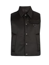Prada Point Collar Quilted Down Gilet Black