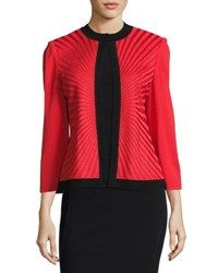 Ming Wang Sunburst Knit Contrast Trim Jacket Red Black