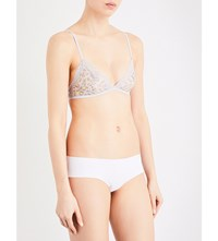 Calvin Klein Sheer Stretch Mesh And Lace Triangle Bra Dy8 Dynamical Leopard