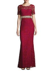 Marchesa Boatneck Lace Pattern Gown Magenta