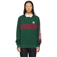 Aime Leon Dore Green And Burgundy Striped Rugby Polo