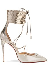 Christian Louboutin Corsankle 100 Metallic Leather And Lame Pumps Silver
