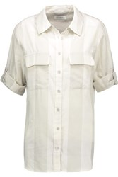 Equipment Slim Signature Striped Cotton Voile Shirt Off White