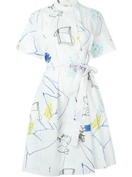 Ports 1961 Drawings Wrap Dress White
