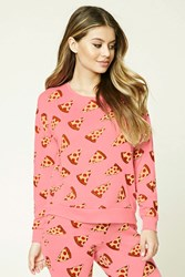 Forever 21 Pizza Print Pj Top Pink Yellow