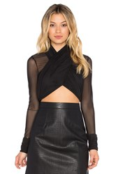 Rise Double Play Mesh Crop Black