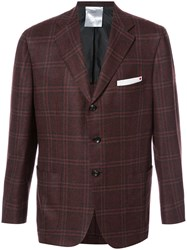 Kiton Plaid Blazer Men Silk Linen Flax Cupro Cashmere 54 Red