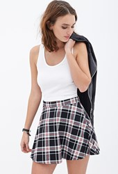 Forever 21 Tartan Plaid Skater Skirt Black White
