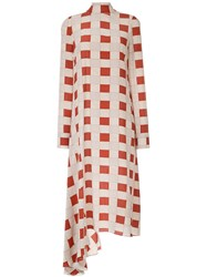 Marni Checked Ruffle Hem Dress Silk Yellow Orange