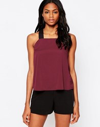 Ax Paris Elasticated Strap Cami Wine Red