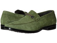 Stacy Adams Nesbit Moc Toe Braided Strap Slip On Olive Suede Men's Slip On Shoes