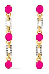 Elizabeth Cole Woman 24 Karat Gold Plated Silver Tone Crystal And Stone Earrings Fuchsia