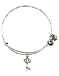 Alex And Ani Skeleton Key Charm Bangle Bracelet Silver