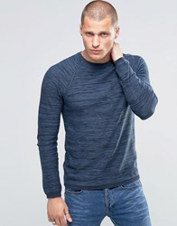 Blend Of America Crew Slim Knit Jumper Stripe Melange Navy Blue Nights