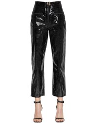Self Portrait Zip Front Faux Patent Leather Pants