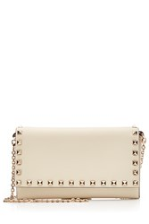 Valentino Rockstud Leather Wallet On Chain White