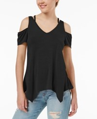 Almost Famous Juniors' Strappy Cold Shoulder Top Black
