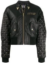 Versace Jeans Embroidered Leather Jacket Black