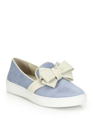 Michael Kors Val Suede Bow Skate Sneakers Cipria Blue