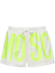 Moschino Logo Nylon Swim Shorts White