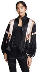 Koche Patchwork Classic Bomber Jacket Black Light Pink Copper