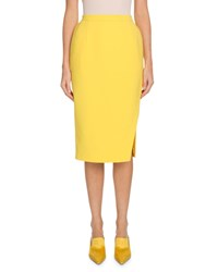 Altuzarra Pencil Crepe Knee Length Skirt Yellow